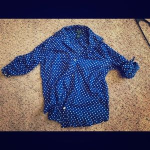 Blue and white polka dot button up